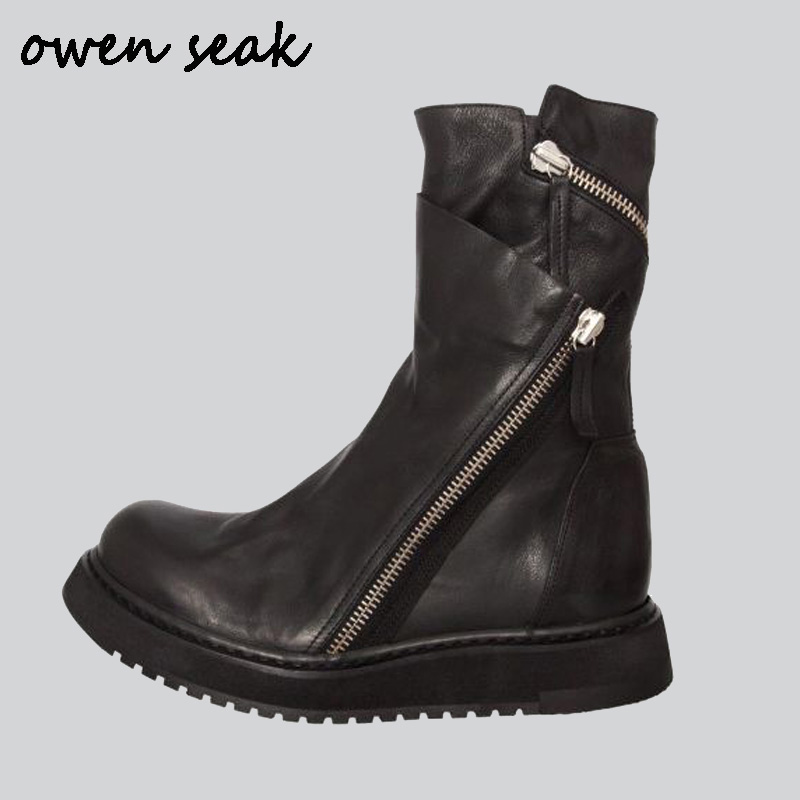 Owen Seak Men Shoes High-TOP Ankle Boots Luxury Trainers Genuine Leather Boots Casual Zip Flats Black Big Size Brand Sneaker