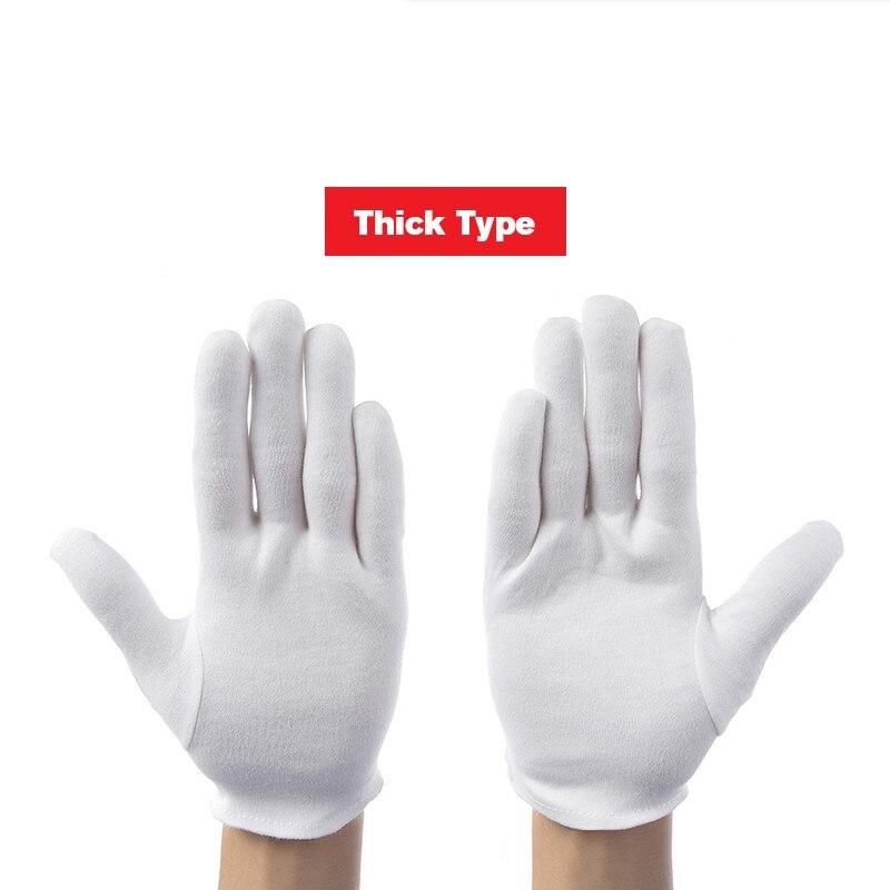 12 זוגות\חבילה לבן 100% כותנה כפפות טקסיות לזכר נקבה הגשה/מלצרים/נהגים/תכשיטי כפפות בטיחות עבודה כפפות