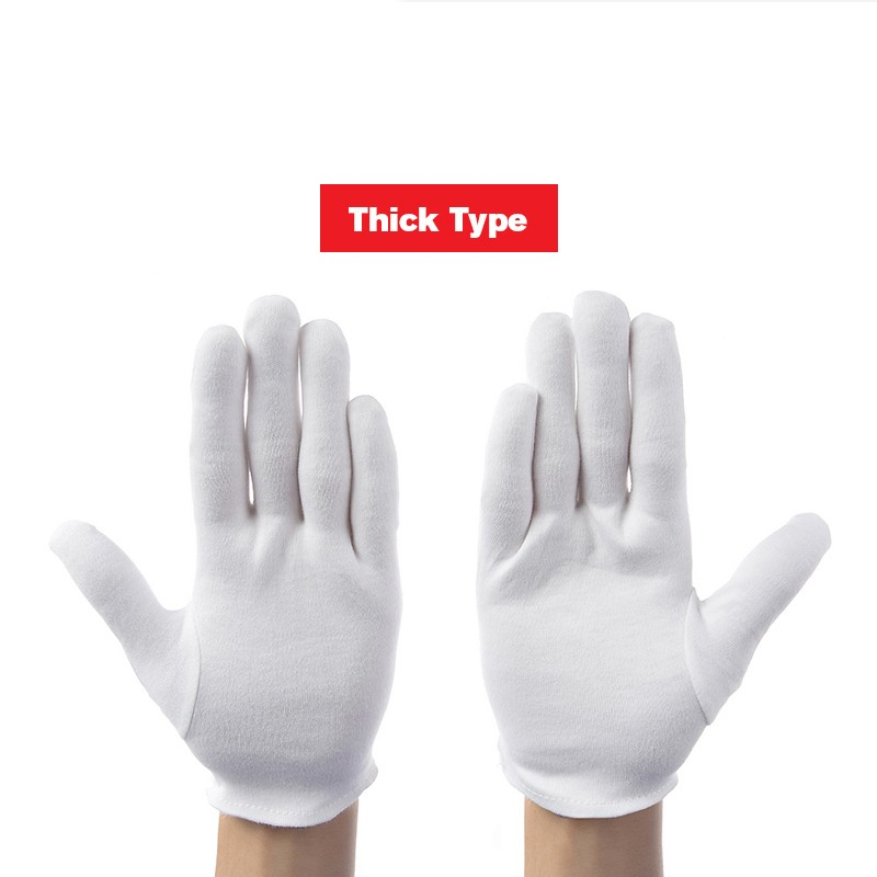 12 Pairs/lot White 100% Cotton Ceremonial Gloves For Male Female Serving / Waiters/drivers/Jewelry Gloves Safety Work Gloves