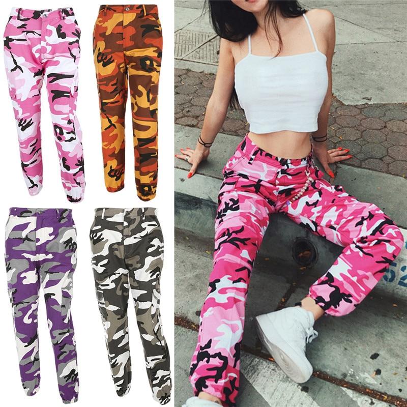 Fashion Women Camouflage Pant High Waist Hiphop Pink Camo -2175