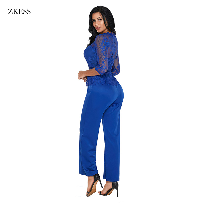 ZKESS Women Fashion Peplum Top Wide Leg Jumpsuits Casual 3 4 Lace Sleeved O  Neck Straight Rompers Party Club Playsuits LC64356-in Jumpsuits from Women s  ... 649794c7a75e