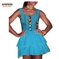 2018 lato mini sukienka dla kobiet afryki druku AFRIPRIDE kobiety mini sukienka bez rękawów, podwójne warstwy 100% batik bawełna A7225146