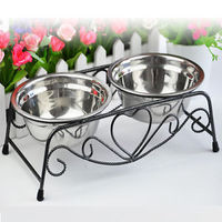 1Pcs Double Stainless Steel Bowls Dog Cat Pet Food Water Feeder Dish With Retro Iron Stand