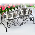 1Pcs Top Sale Double Stainless Steel Bowls Dog Cat Pet Food Water Feeder Dish Retro Iron Stand Pet Food Bowls