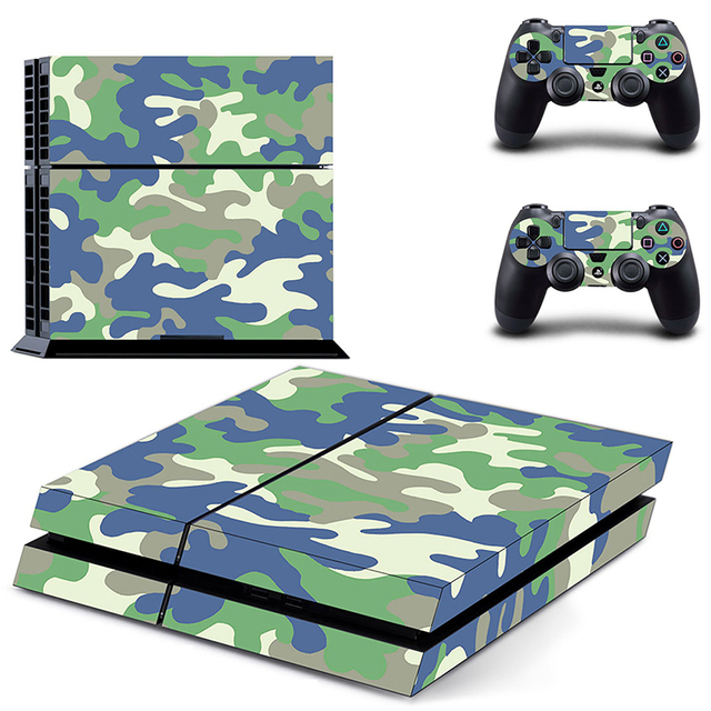 Classic PS4 Sticker Green Camouflage Vinyl Cover Decal PS4 Skin Sticker for Sony Play Station 4 Console and 2 Controller Skin 5