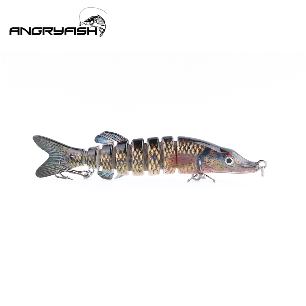 ANGRYFISH 4 color Fishing Lure 13cm 24g 8 Segments Lure Bait with Artificial Hooks Lifelike Bait