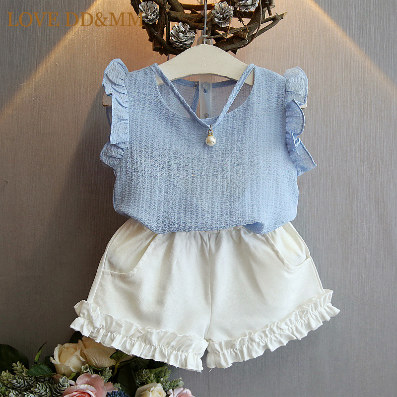 Girls Clothing Sets 2017 Summer Children 's Fashion Casual Pearl Sleeveless Chiffon Blouse + Shorts Suits Kids Clothes