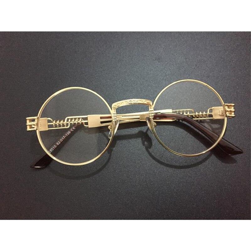 Steampunk złote ramki okularów męskie okrągłe odcienie marka