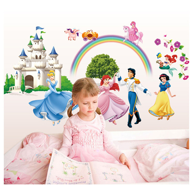 children bedroom girl princess pink style wall decals stickers