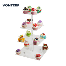 VONTERPsquare transparent 4 Tier Acrylic Cupcake Display Stand/acrylic cake stand with base Square(6 between 2 layers)