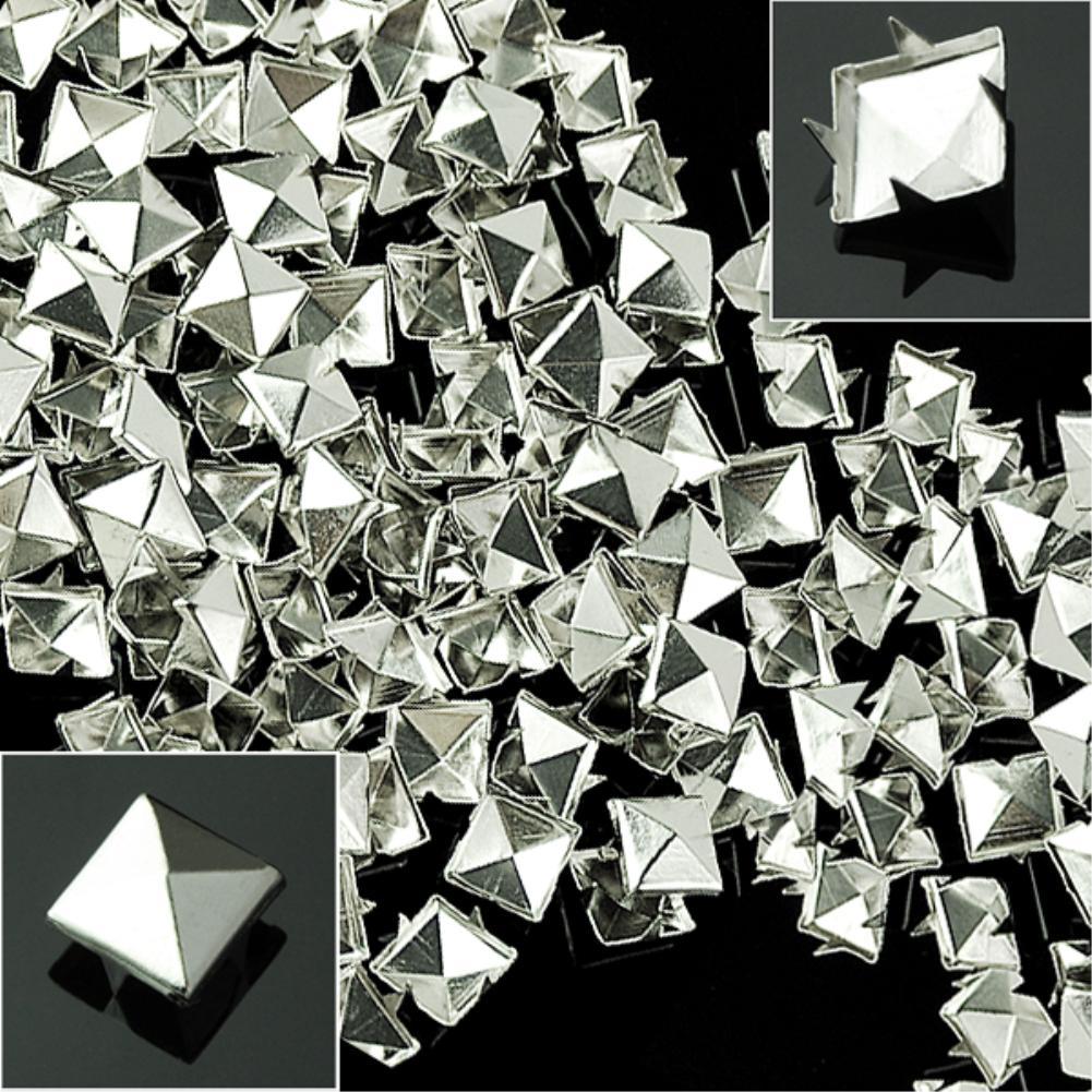 100pcs/lot DIY 10mm Silver Pyramid Studs Nailheads Rivet Spike For Punk Bag Leather Craft Bracelets Clothes Belt bag rivet stud