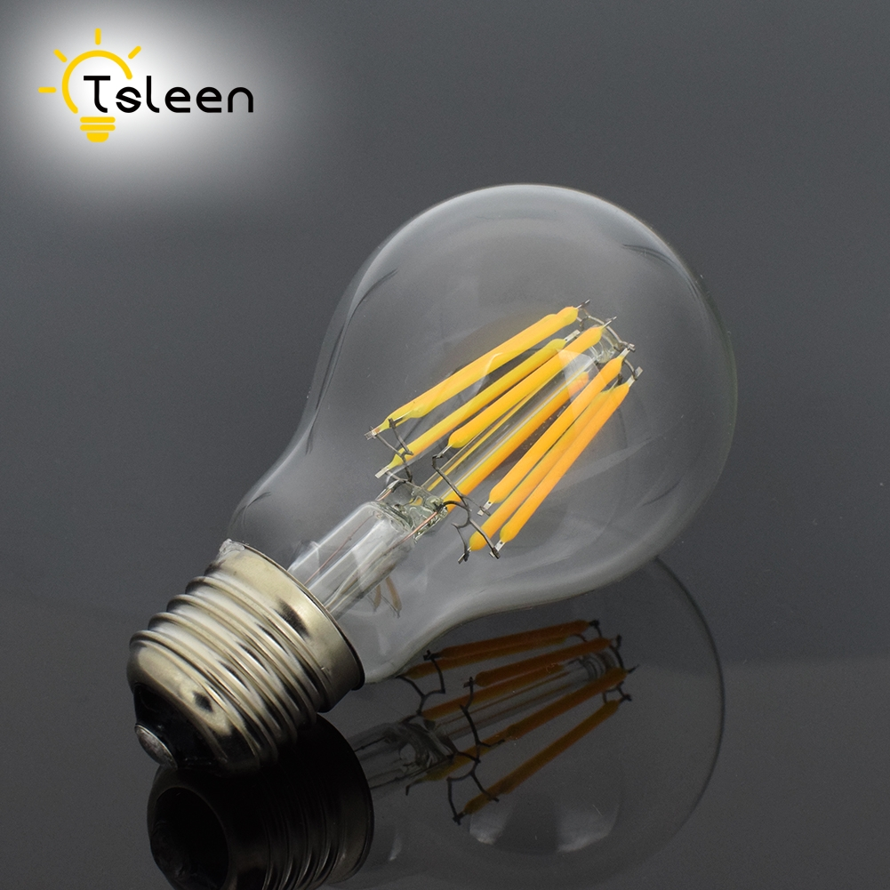 6pcs Dimmable LED Filament Bulb E27 16W Clear Retro Edison lamp light Incandescent lamp A60 220v Lampada Ampoule Bombillas lumiparty classical edison bulb e27 8w filament luminaria tubular nostalgic filament incandescent antique light bulb home lamp