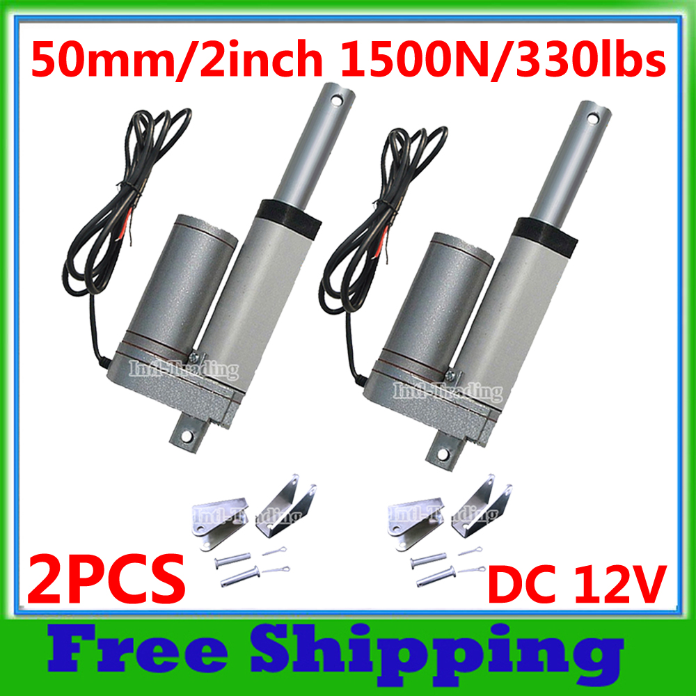 Set of 2 Heavy Duty 18 Linear Actuator Stroke with Mounting Brackets 200 Pound Max Lift 12 Volt DC