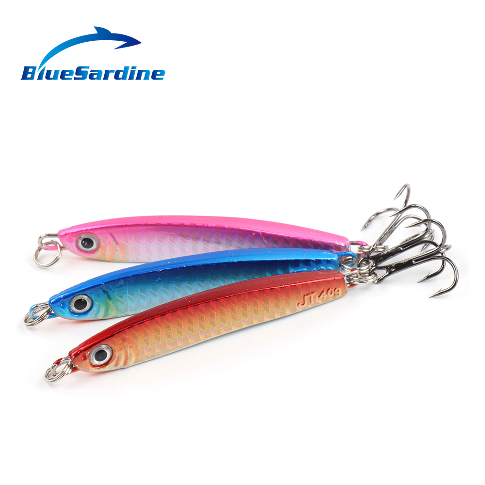 BlueSardine 3PCS 40G 9.5CM Metal Jig Fishing Lures Paillette Knife Wobbler Artificial Hard Bait Jigging Lures