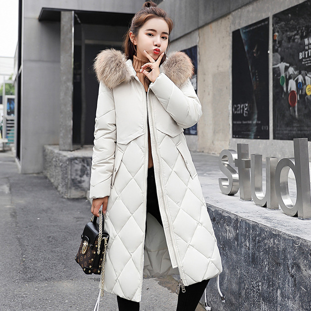 Women's Winter Coat 2018 new over the knee hooded fur collar down cotton pad Korean version of thick women's down jacket