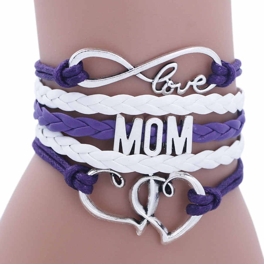 Hecho a mano antiguo plata infinito mamá abuela hermana cartas corazón encanto pulseras y brazaletes para mujeres regalo de Valentin