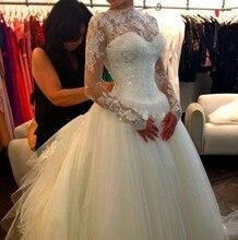 2016 Hot Fashion Long Sleeves O-neck Tulle Bridal Dress O-neck Zipper Back A-line Weddding Dress 1145