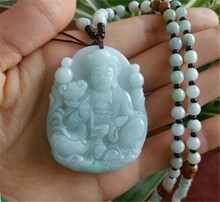 100% Natural Jadeite Jades Pendant 3D Handmade Carved Guanyin Bodhisattva Pendants Men's Amulet Jades Jewelry +Beads Necklace beautiful natural burmese stone pendant guanyin bodhisattva gift a jewelry box for necklace 1