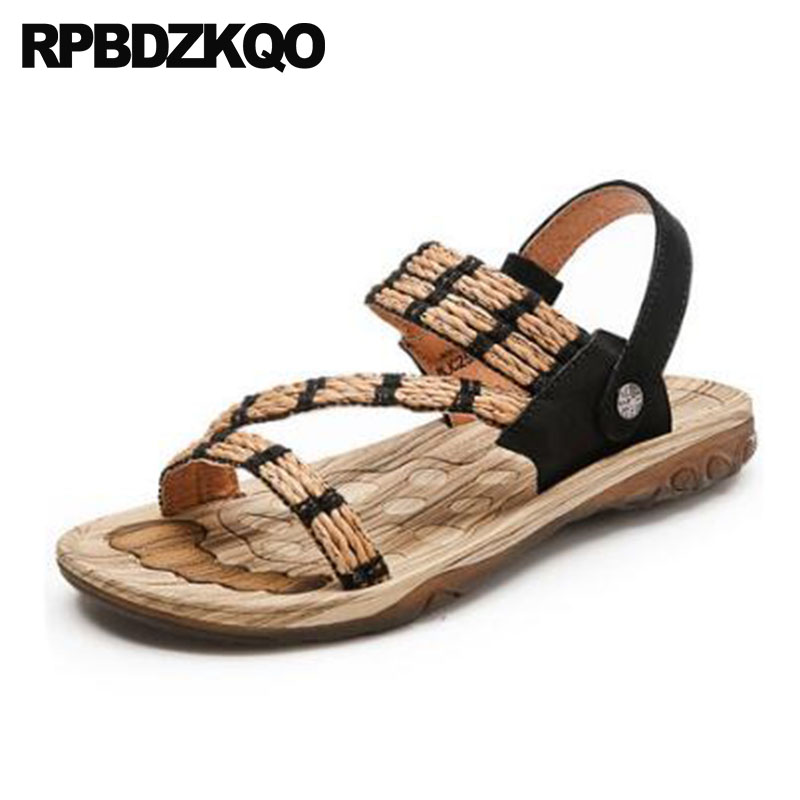 Beach Slippers Espadrilles Designer Shoes Men High Quality Slip On Slides Black Luxury Sandals Rope Summer Genuine Leather Flat 2016 summer women flat platform slippers fashion hemp rope insole ladies genuine leather buckle sandals designer espadrilles