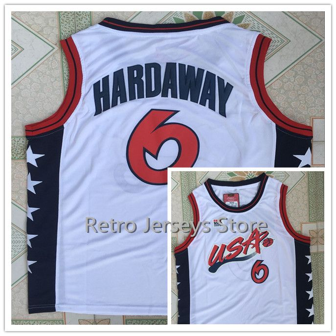 #6 Penny Hardaway Team USA Vintage Throwback Basketball Jerseys, Retro Men cheap Customized Embroidery and Jersey