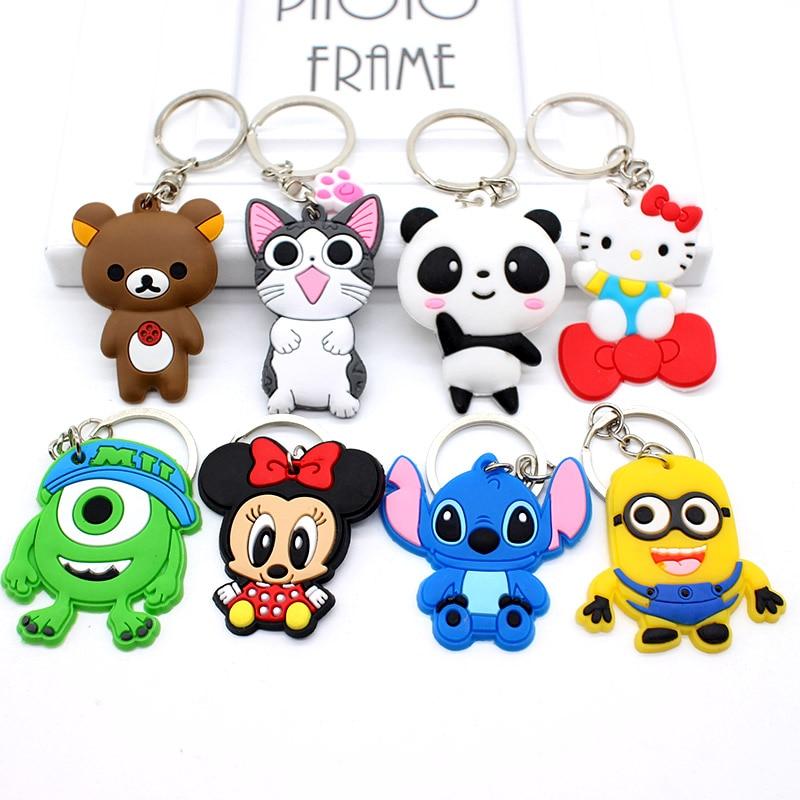 Cute Cartoon mickey minne Keychains Hello Kitty Cheese cat Bear Key chains Bag Pendant cat Owl Minion key Pendant Anime jewelry