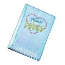 цена на Holographic Laser Passport Holder Embroidery Heart Travel Cover Case ID Card Organizer