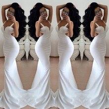 High Quality Vestidos De Festa 2015 Sexy Party Gowns Chiffon V-Neck Sleeveless Backless 2014 Fashion White Mermaid Evening Dress