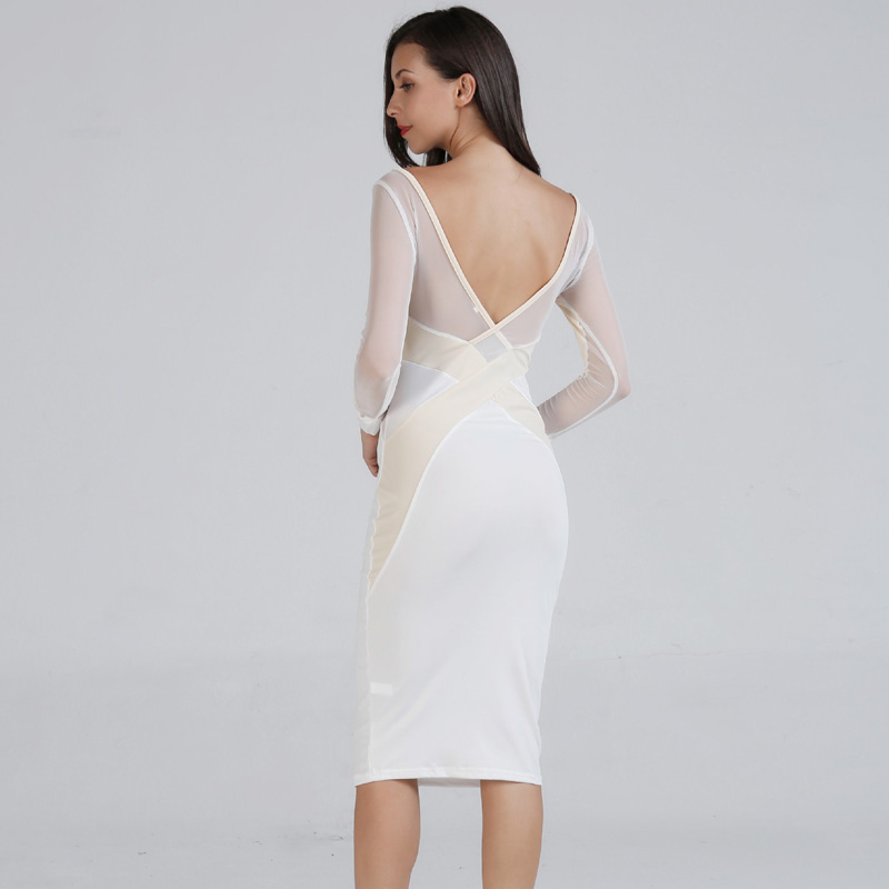 <font><b>Women</b></font> <font><b>Sexy</b></font> Lace mesh Patchwork Party Dress Ladies Long Sleeve O Neck <font><b>bodycon</b></font> bandage <font><b>2018</b></font> <font><b>Autumn</b></font> New <font><b>Fashion</b></font> <font><b>Elegant</b></font> Club Dress image