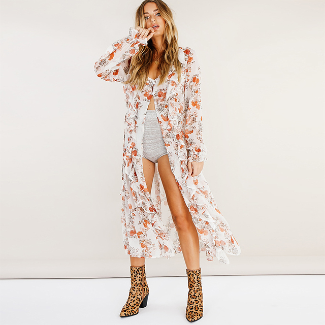 19c1e46bc5b2a Womens Tops And Blouses Summer 2018 Bohemian Floral Print Ruffle Long  Chiffon Blouse Women Kimono Top Beach Wear Boho Clothing