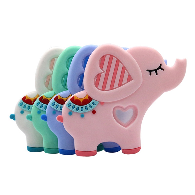 Safe Baby Cartoon Teether Cute Animal Elephant Infant DIY Ring Necklace Teether Toddle Silicone Chew Charms Kids Teething Toys