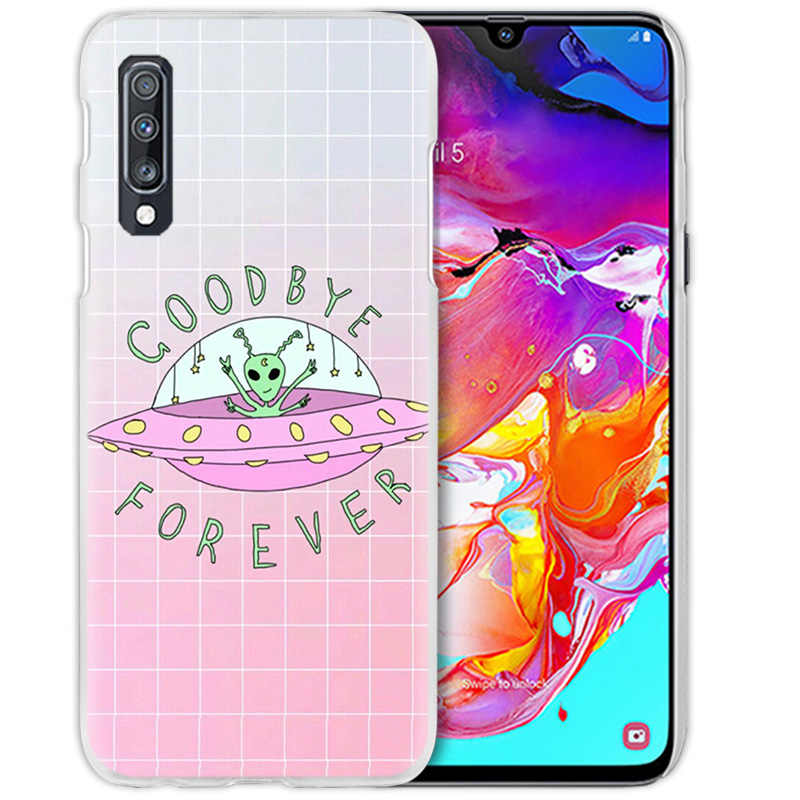 Alien UFO Emoji Case for Samsung Galaxy A50 A70 A20e A40 A30 A20 A10 A8 A6  Plus A9 A7 2018 Hard Clear PC Capa Phone Coque Cover