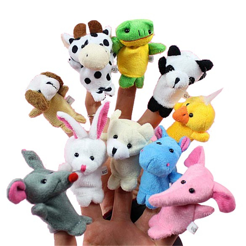 6/10/12 Pcs/set Cartoon Animal Finger Puppet Baby Plush Toys For Children Gift Family Dolls Animals Toys Baby Pretend Play Toy
