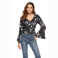 Vintage printed flounce long-sleeved chiffon blouse sexy V-neck horn sleeve elastic waist streetwear fashion blouse 2019 цена 2017