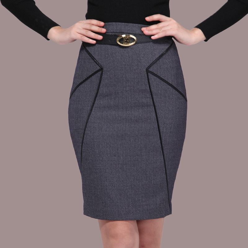 High quality women brief vintage gray color slim pencil skirts ...