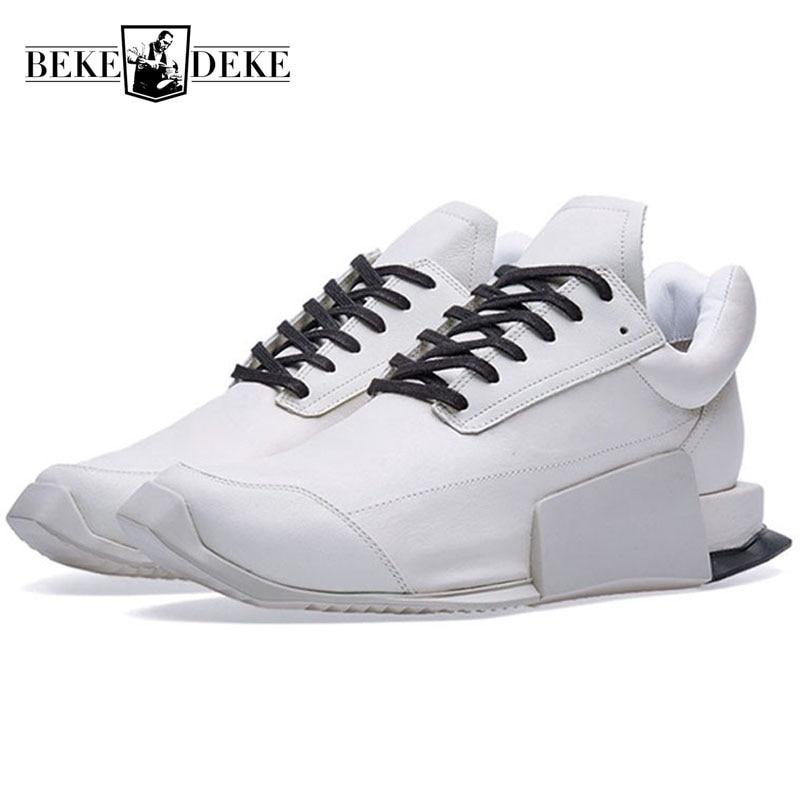 الطراز الأوروبي منخفضة أعلى أحذية رياضية من الجلد الأبيض الطبيعي للرجال الأزياء الفاخرة الدانتيل يصل عارضة Outddor المشي أحذية من الجلد الرجال-في أحذية رجالية غير رسمية من أحذية على  مجموعة 1