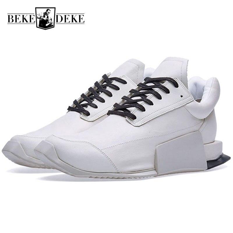 Stile europeo Low Top Sneakers In Pelle per Gli Uomini di Moda di Lusso Del Merletto di Bianco Naturale Up Casual Outddor Scarpe di Cuoio A Piedi Degli Uomini-in Scarpe casual da uomo da Scarpe su  Gruppo 1