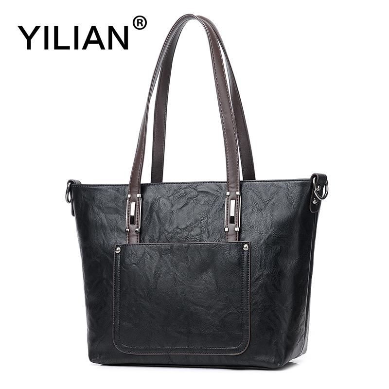 YILIAN 2017 New Casual Tote Bags for Women Leather Bag with Big Capacity Woman Classic Black Handbags Fashion Handbag 708 aosbos fashion portable insulated canvas lunch bag thermal food picnic lunch bags for women kids men cooler lunch box bag tote
