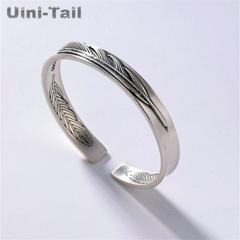Uini-Tail, gran oferta, pulsera retro de plumas de plata de ley 925 auténtica, personalidad, modelos de pareja simples, pulsera abierta