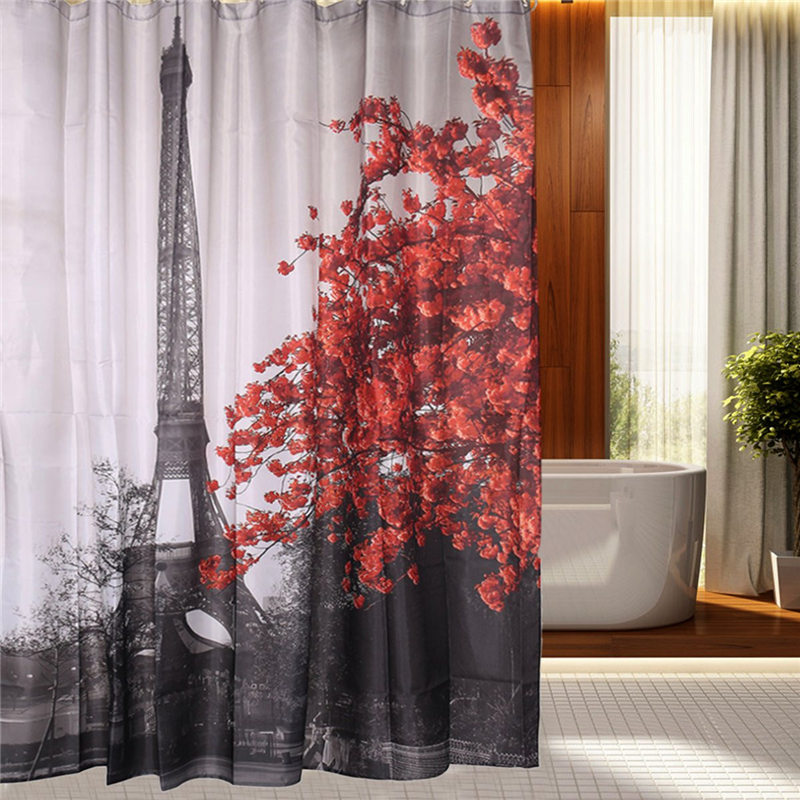 New Arrival 180x180cm Paris Eiffel Tower Printing Waterproof Terylene Bathroom Shower Curtain Block With 12 Hooks Home Decor
