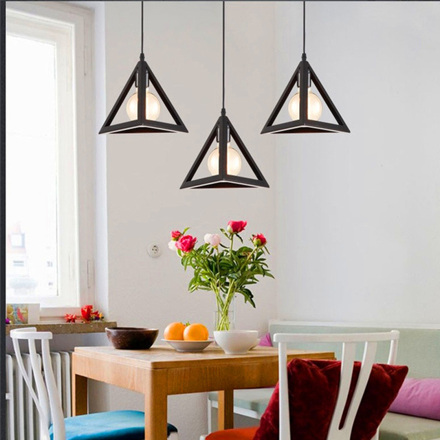 Loft Triangle Pendant Light Retro Industrial Living Room Bar Lamp Bedroom  Restaurant Iron Hanging Lamp E27