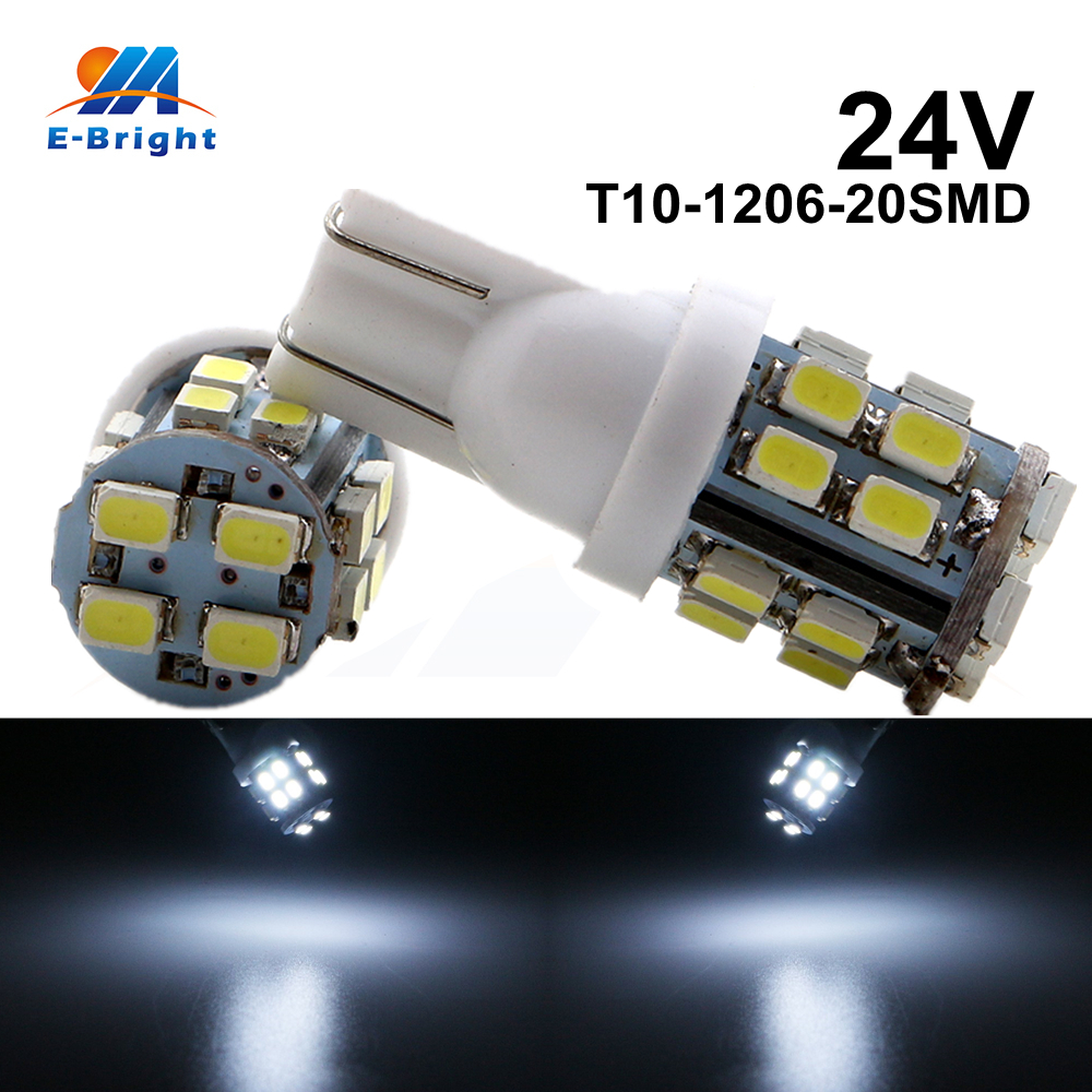 10 50 200pcs 24V DC T10 1206 20 SMD Led Bulbs W5W 194 160LM Car Light Repalcement Clearance Instrument Reading Light in Signal Lamp from Automobiles Motorcycles