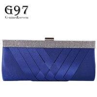 G91 2017 Hot Sale Vintage Women Blue Diamond Bag Sequined Diamond Handbag Bridal Wedding Party Metal