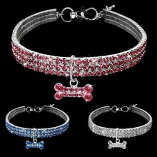 Exquisite Bling Crystal Dog Collar Diamond Puppy Pet Shiny Full Rhinestone Necklace Collars for Little Dogs Supplies