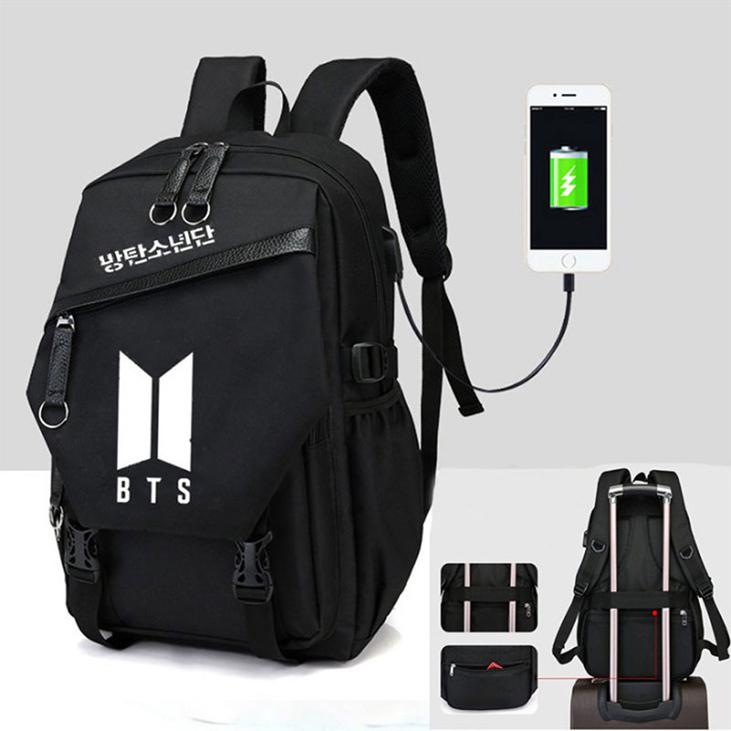 Fashion KPOP Bts Backpack School Bags For Teenage Girls Travel Shoulder Backpack Bags USB Charge Canvas Rucksack Laptop Backpack