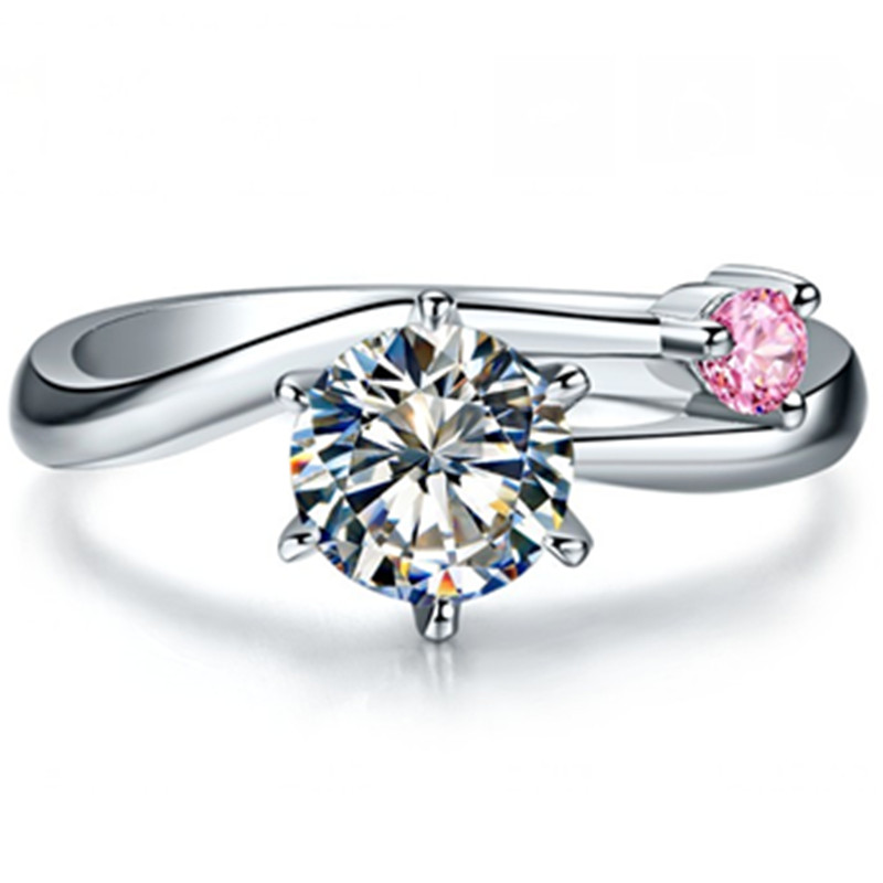 Telesthesia love 1 01Ct Clear Pink Synthetic Diamonds Engagement Ring for darling S925 Sterling Silver Ring