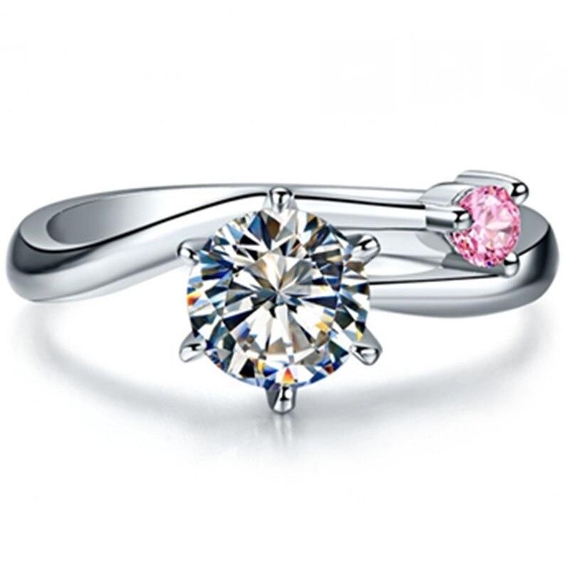 Telesthesiaรัก1.01Ctล้างและสีชมพูสังเคราะห์เพชรแหวนหมั้นสำหรับรักS925เงินสเตอร์ลิงแหวนสีขาวสีทอง-ใน แหวนหมั้น จาก อัญมณีและเครื่องประดับ บน   1