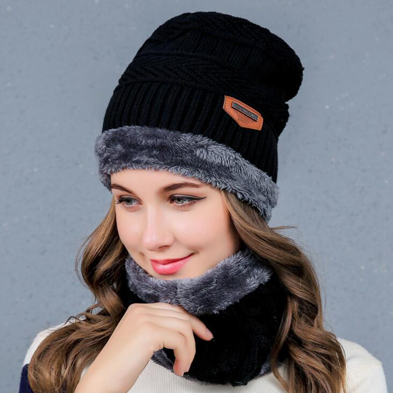 100pcs/lot Neck warmer knit ski cap scarf cold warm fur lining winter hat for women men Knitted velvet   skullies     beanies   Bonnet