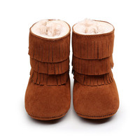 Kid Unisex Baby Boots Winter Warm Thicken Inner Cotton First Walkers For Toddler Fringe Shoes Boy