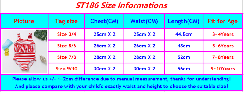 ST186 girls swimwear size chart