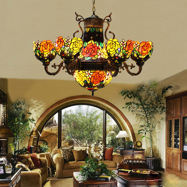 Gentil FUMAT Chandeliers Stained Glass Lights Fixtures Pendant Lamp For Bedroom  Rose Flower Lights 6 Heads E27